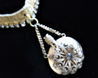 Wedding or prom  vintage perfume bottle necklace with gold rhinestone  necklace.