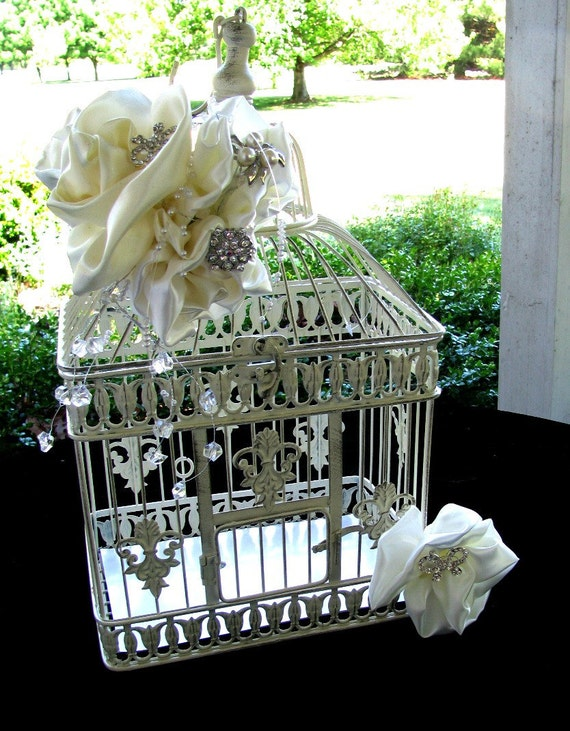 wedding bird cage card holder reception card holder to match brooch