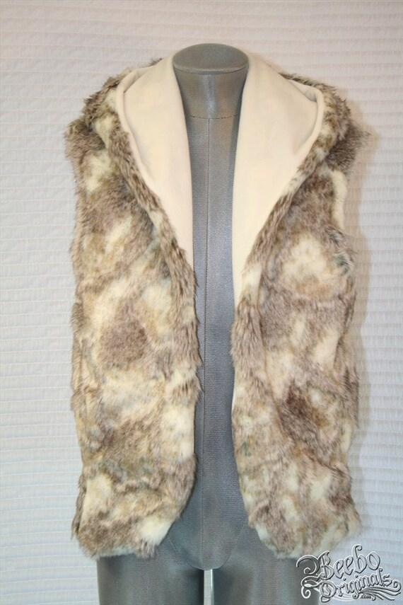 Bunny Love Mens LUXE Faux Fur Hoodie Vest