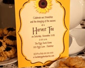 HARVEST SUNFLOWER INVITATION Printable Personalized Sunflower Invitation