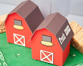 BARN Favor Box : DIY Printable PDF - Instant Download