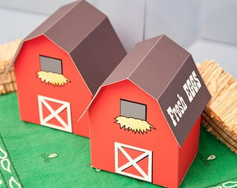BARN Favor Box : Print at Home Farm Themed Gift Box | Barnyard Favor | Full-Color Template | DIY Printable | Digital File | Instant Download