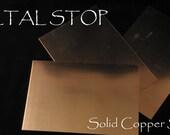 Copper Soild Sheet 24 gauge 4 by 6