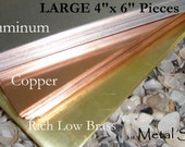 SHEET METAL -Large 4 by 6 inch piece of 24g Brass Sheet - For all your Metal Jewelry and Blanks  - Best Metal Prices on Etsy