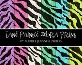 Wild Zebra Print Digital Paper Pack 12 inch AJR-119 original watercolor art cardmaking hot pink green aqua blue purple lavender black white