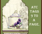 Digital Tags Sweet Tea Original Art Collage Sheet of Images AJR-005 tea pot tea cup pansy pansies roses swirls card making vintage