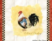 Tuscan Rooster Art Print, AJR-209D Colored Dorking paintings Sheet, use for tiles squares roosters Red Bantam, greeting card supplies, scrapbooking, embellishments, scroll work, chocolate brown, gold, checkered