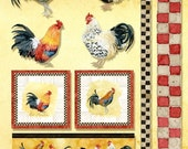 Tuscan Rooster Digital Clip Art n Paper, AJR-205 Digital Collage Sheet, borders squares four roosters Cubalaya Red Dorking