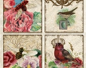 INSTANT DOWNLOAD Queen Bee Rose .85 in sq collage sheet AJR-075 jewelry scrabble tile glass pendant vintage bird lady bugs bee pansies crown