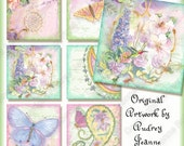 Digital Butterfly Dragonfly Images Clipart AJR-198 Original Art 3 in square paisley butterflies butterfly hummingbirds lace delphinium