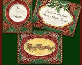 Digital Christmas Holly Berry Damask Printable Collage Sheet hanging gift tag Atc backgrounds AJR-149 ornaments swirls red green gold