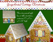 Christmas Gingerbread House Village AJROB-108 Cottage DIY Winter Holiday kit, print the pages, cut and glue.  cookies candy cane peppermint
