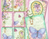 Digital Butterfly Butterflies n Paisley Atc Background Collage Sheet AJR-197, paisley paislies butterflies butterfly hummingbird delphinium