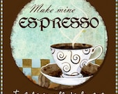 Coffee Cup digital collage sheet gift tags AJR-219 2.5 inch circle cappuccino latte mocha java brown stacked cups mug word art
