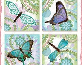 Digital Butterflies 1.5 inch 2 in square collage sheet Playful Cute Butterfly AJR-306 pink aqua lime green for jewelry glass tile dragonfly