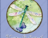 Digital Clipart Collage Watercolor Circle 3.75 in dragonfly blue butterfly, AJR-348 daisy cabochon art, hummingbird blue hydrangeas