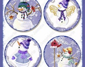 Digital Snowman Winter collage sheet Christmas Snow AJR-273D 3.75 inch round hanging gift tag skating skate cocoa snowman snowflake