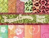 Digital Paper Pack Tropical Patterns, beach island style AJROB-065-dc bamboo woven mat texture leopard print hibiscus swirls