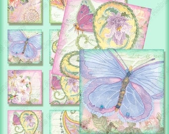 Digital 1 in square Butterfly Wings Watercolor Clip Art Collage Sheets, AJR-201, paisley paislies hummingbirds lace delphinium scrabble