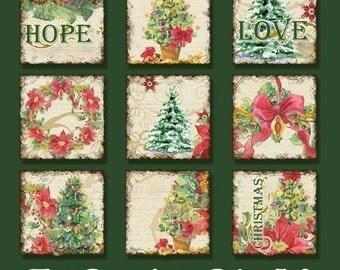 INSTANT DOWNLOAD Christmas Love Joy Peace Digital Collage Sheet Original Art Etsy-AJR-020 1 inch square pendants tree snowflake poinsettia