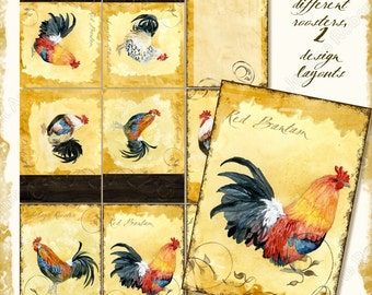 Digital Watercolor, Tuscan Rooster hang tags, AJR-204  Collage Sheet Atc backgrounds four roosters Cubalaya Red Dorking scroll swirls