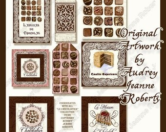 Chocolate Desserts Digital clip art shaped card tags AJR-126 Audrey Jeanne scrapbooking collage sheet chocolate candy cake