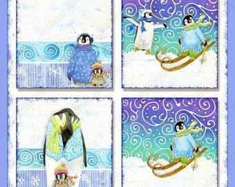 INSTANT DOWNLOAD Digital Collage Sheet Christmas Playful Penguins Scrabble Pendant .85 inch square AJR-270B snowboarding skiing penguin snow