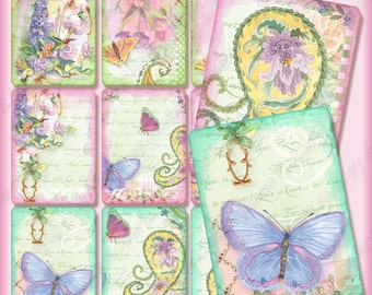 Digital Butterfly Butterflies n Paisley Atc Background Collage Sheet AJR-197, watercolor clipart clip art paisley hummingbird delphinium