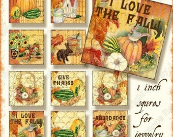 INSTANT DOWNLOAD Fall Autumn Garden Harvest Collage Glass Pendant Collages, AJR-165 1, 1.5, and 2 inch squares bird house sunflower pumpkins
