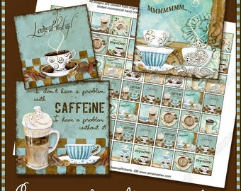 Digital coffee art Deja' Brew, 1 inch inchie punchable square pendant cappucino latte mocha java ephemera commercial AJR-145