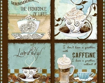 Digital Watercolor coffee art AJR-143 2 inch magnets sized square cappucino latte mocha java blue chocolate brown, backgrounds cardmaking
