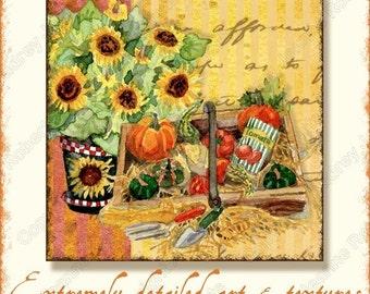 Digital Watercolor Fall Autumn Collage Sheet Garden Harvest, AJR-109 3 inch squares thanksgiving watercolor art sunflower pumpkins