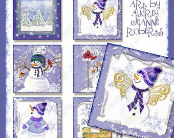 Snowman Digital collage sheet Christmas Winter Snow Play AJR-273B 3 inch square gift tag skating skates cocoa snowman snowflake