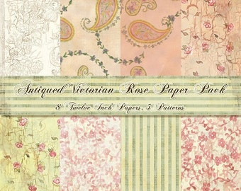 Textured Rose Paisley, Digital Paper Kit, AJR-038 scrapbooking, cardmaking invites, 8 hand watercolor art papers, peach roses paislies