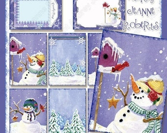 Winter Digital Collage Sheet Christmas Snow Play Atc gift tags AJR-274 cute whimsical snowman birdhouse bird snowflake