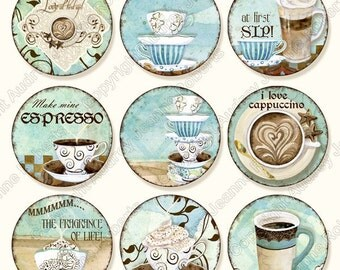 Coffee Digital Clip Art Deja' Brew modern AJR-298 1 inch circle cappuccino latte mocha java blue brown cups mugs pendant