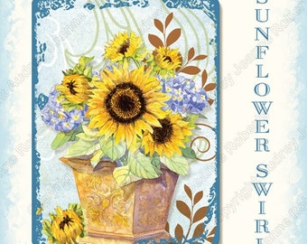Digital Sunflower Swirl Atc tags collage sheet, AJR-299 hydrangea gloriosa daisy daisies butterfly butterflies watering can topiary