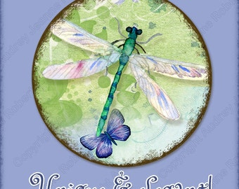 Hummingbird Butterfly Digital Collage Round Circle 3 in, 2 in, 1.5 in, 1 in, 30mm, 20mm dragonfly AJR-348 daisy cabochon blue hydrangeas