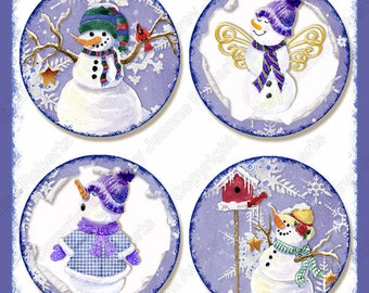 Digital Snowman Winter collage sheet Christmas Snow AJR-273D multi size 3.75 inch, 3 in, 2.5 in, 2.25 in round hanging gift tag cocoa