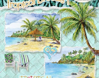 Watercolor Tropical Beach Digital Clip Art Kit, AJROB-064-dc Palm Trees, Bamboo Hibiscus Flowers, rattan background, summer scrapbooking