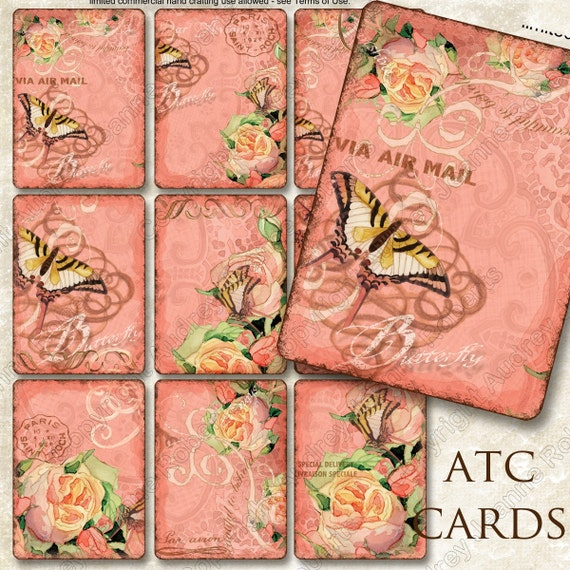Watercolor Digital Butterfly Swirl Tags ATC Size Collage Sheet - AJR-196 hanging jewelry tags roses calligraphy swirls ephemera pink brown