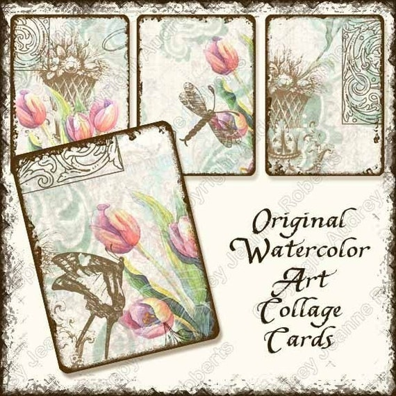 INSTANT DOWNLOAD Digital Collage Sheets Flutterbyes n Tulips AJR-003 card making butterfly butterflies dragonfly dragonflies aged vintage