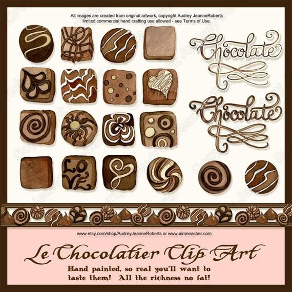 Chocolate Dessert Digital clip art Candy word art AJR-289 Audrey Jeanne Roberts brown pink scrapbooking truffles