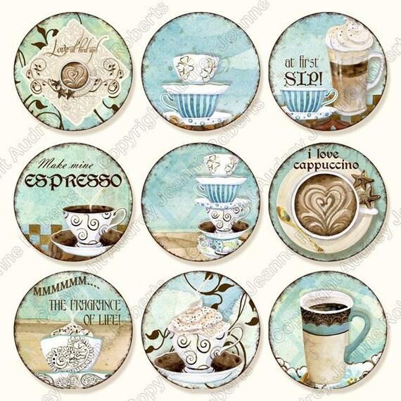 Coffee Digital Clip Art Deja' Brew modern AJR-298 1 inch circle cappuccino latte mocha java blue brown cups mugs pendant