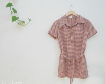 60's Mod Blouse // Brown and Orange Blouse // Vintage Blouse
