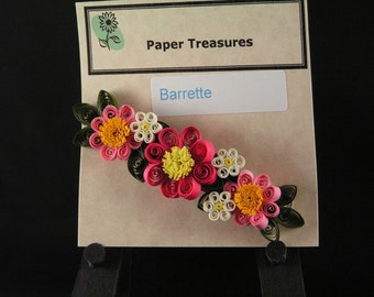 Rose and Pink Floral Barrette