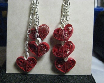 3 Heart Earrings - True Red