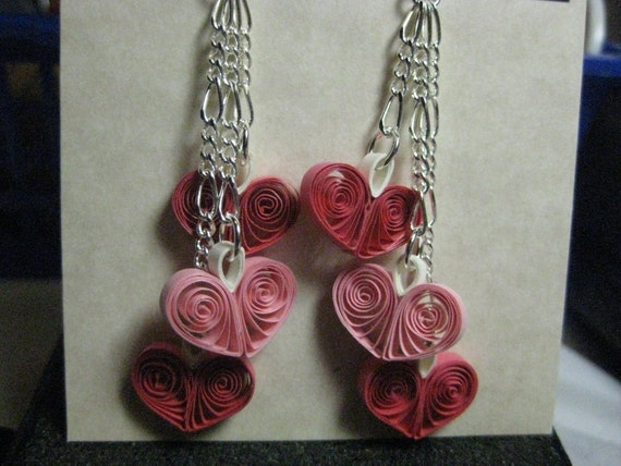 3 Heart Earrings - Rose and Pink