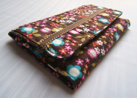 clutch wallet, fabric, brown, pink, women, tri-fold, handmade quilted wallets by AccessoriesbyBethany on etsy