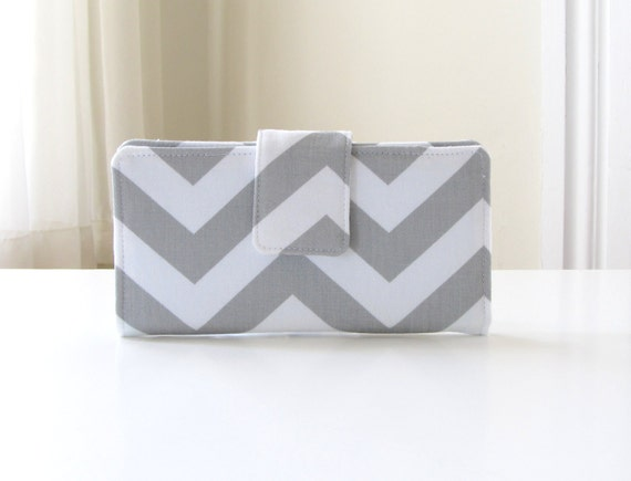 Womens Chevron Fabric Wallet in Gray with Aqua Blue lining, Handmade Bifold Wallet - READY TO SHIP